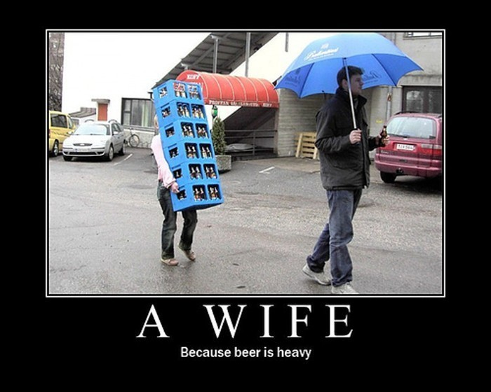 A wife because beer is heavy 4chan lover meme and motivational advertisements freerunsca Gallery